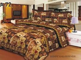 Seprei motif teddy bear coklat - sprei ukuran 6 kaki