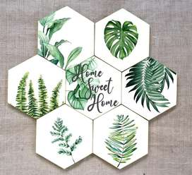 Walldecor hexagonal seri Home Sweet Home set of 9