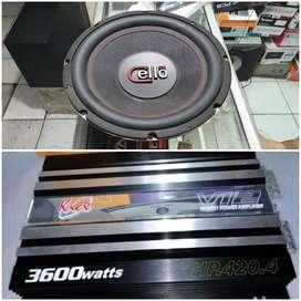 Bass Oke Power Kicx 4 Channel & Subwoofer 12 inch Cello Bass