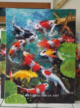 Lukisan ikan koi air mancur fengshui media kanvas cat oil palet