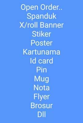 Terima bikin spanduk ,x banner,rol banner,kartu nama stiker,dll