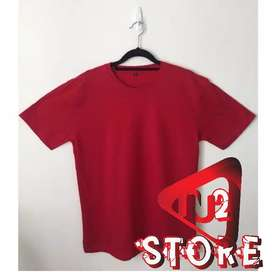 Promo Kaos Polos Semi Polyester PE Warna Merah Size L dan XL