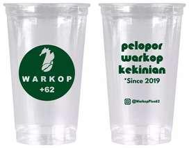 Gelas plastik di sablon terbaru CUP PET 28oz