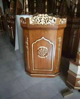 mimbar masjid model biasa bahan jati