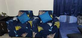 Two single seater sofa set with sofa cover
