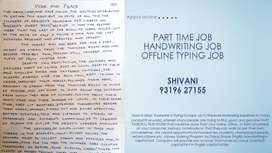 Part time jobs/ Handwriting job and typing job/WORK FROM HOME
