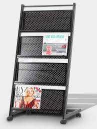 4-Tray Floor Standing Wrought Iron Magazine Rack Stand (Black)