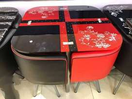 Red and black dining table 4 seater