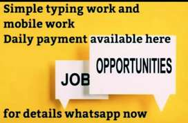 Simple typing and mobile work from home with daily payment