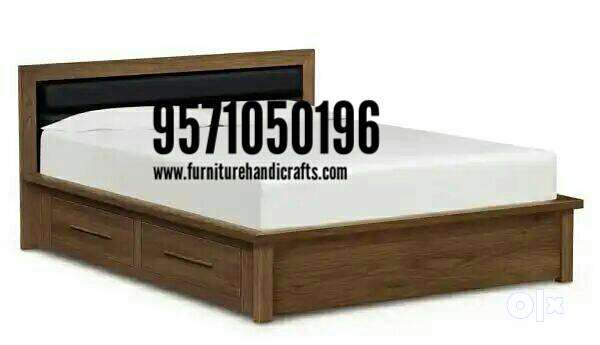 Latest design sheesham solid wooden storage double bed 0