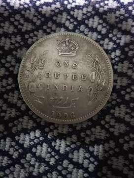 One rupee India 1906