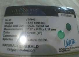 Emerald,Zamrud,Jamrud Colombia 1.49 crt Memo