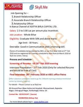 Aditya Birla Capital (Branch Relationship Officer)