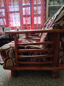 3 + 1 + 1 , 5 seat Wooden Sofas