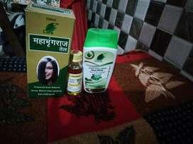 Maha bhringraj oil, rogan baiza murg oil, and Kesh nikhar shampoo