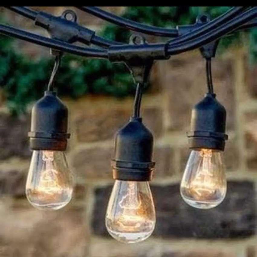 Fiting lampu gantung outdoor waterproof 10m jarak lampu 1m hias cafe 0