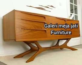 Mej tv minimalis wood D274 bahan kayu jati