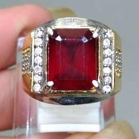 Cincin Batu Natural Garnet Merah Kotak Asli
