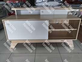 Meja TV Perkasa Minimalis Putih Pintu Geser 120x38x53