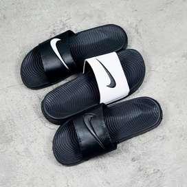 ORIGINAL Nike Benassi Sandal Sendal Selop Pria Hitam Putih Black White
