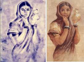 Beautiful handmade Ravi verma painting charcoal sketch