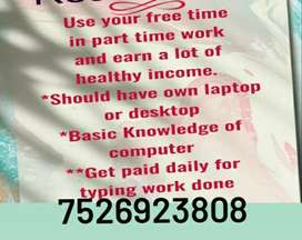 Work@Home | Part Time |- (fresher) /students,housewife @ISO Home basis