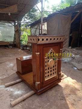 Podium Masjid dan Mushola Kayu jati Minimalis Free Ongkir Pulau Jawa