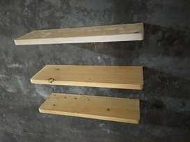 Rak Dinding Kayu Jati Belanda Uk 45x15x1.5 cm (Harga per 1 pcs)