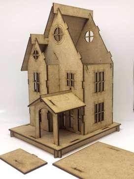 Puzzle Rumah Kayu Miniatur Handmade