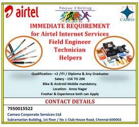 Immedidate Joining for Field Technician & Helper for AIRTEL FIBER