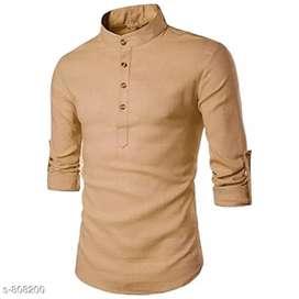 Pearl ocean Men's Attractive cotton solid short kurtas