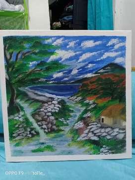 Lukisan kanvas 30 x 30 cm dll