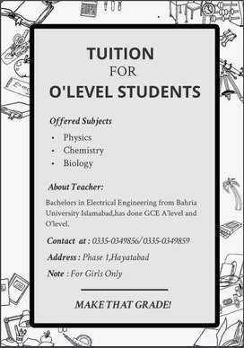 Tuition for GCE O'level in Peshawar