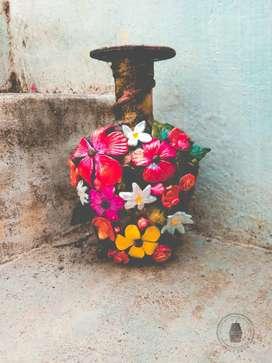 Hand made Bottle art clay art flowers antique