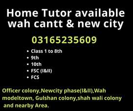 Home tuition available for class 1to 8th,9th,10th and FSC in wah cantt