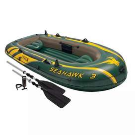 Intex Seahawk 3 Person Inflatable Boat Set with Aluminum Oars & Pump