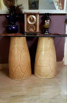 Console table set with mirror