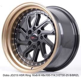Kredit Bunga 0% DOBO JD215 HSR R16X8/9 H8X100-114,3 ET30/25 BK/BZL