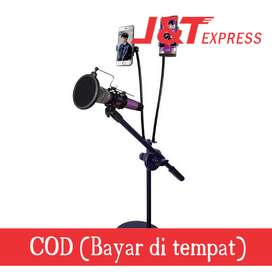 Microphone Stand Flexible Lazypod with 2 x Smartphone Holder - RT-222