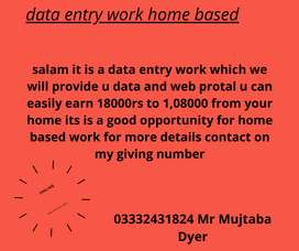 data entry home based work. 100% guarantee