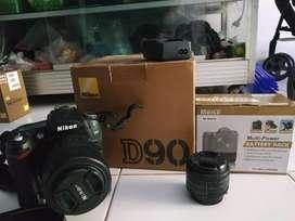 Nikon D90 full dus lensa Kit lensa 50mm BG