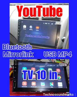 Tv 10 in Android YouTube MP4 gps double din head unit for paket sound