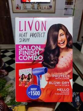 LIVON Heat Protect Serum 100ml×2 + 1 Syska Hair Dryer