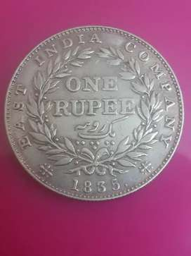 East India Company 1835 One Rupee Silver Coin