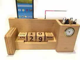 Office Table Calendar, Clock, Pen Holder, Card Holder, Tea Coaster