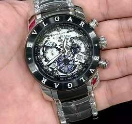 jam tangan kinetic mewah 3 chrono on bulgari white black