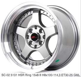 gudang velg murah SC-02 5131 HSR R15X8/9 H8X100-114,3 ET30/25 GML