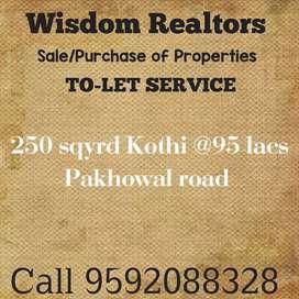 250 sqyrd kothi only @95 lacs
