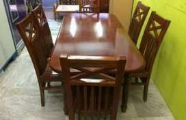 6-Chairs Dining table and wooden tv trolley for sale