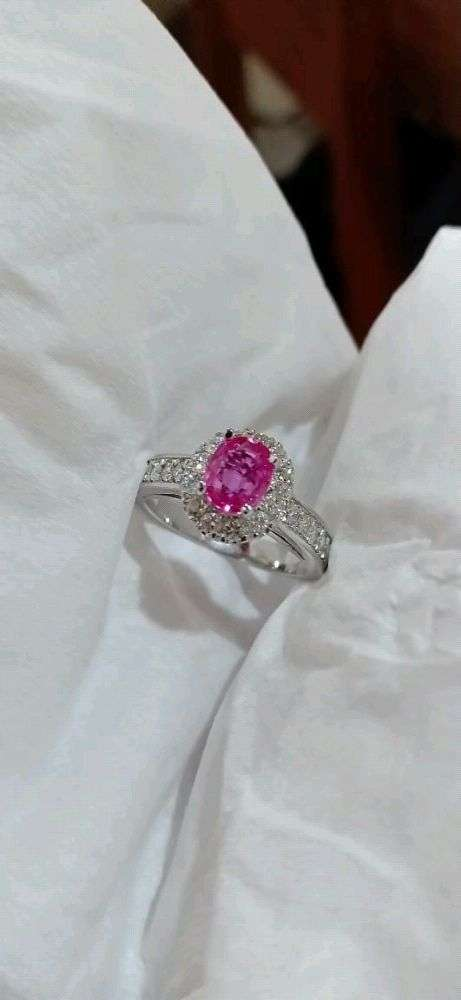 Natural Pink sapphire set in gold and diamond ring 0